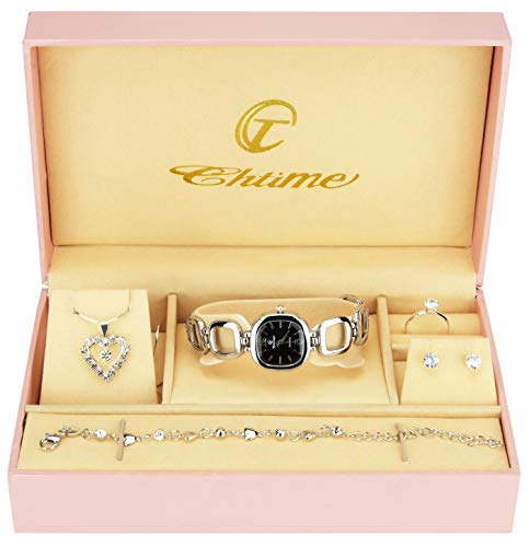 Coffret Cadeau Montre Femme Noir Argent- Parure de Bijoux- Collier-Bague- Boucles d'oreilles - Bracelet