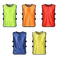 XHONG Children Training Vests, Scrimmage Vests 5Pcs Football Basketball Vest Sports Training Pinnies for Children Youth Sports Basketball, Soccer(5 colors)