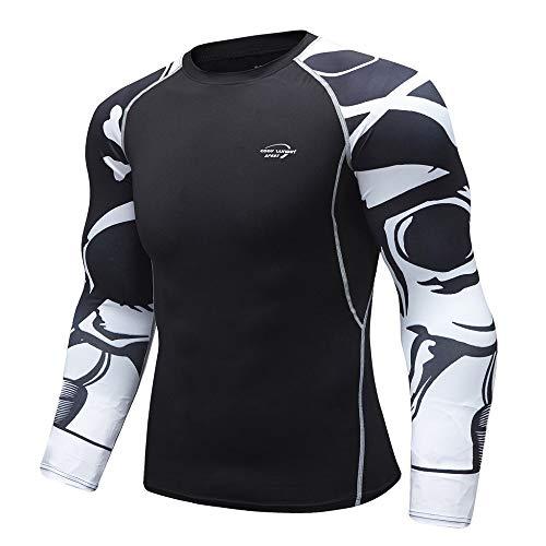 Herren Pullover Schwarz Funktionsshirt Compression Shirt Langarm Kompressionshirt Schnell Trocknend Laufshirt…