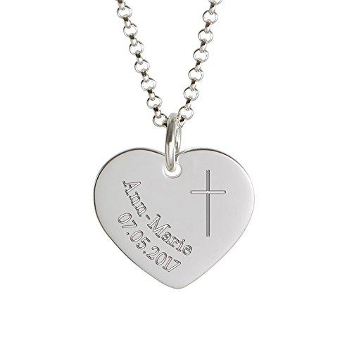 Gravado Mädchen Kette mit Anhänger – 925 Silber – Herz Anhänger mit Gravur zur Taufe – Kreuz – Personalisiert mit [Namen] und [Datum] – Halskette zur Konfirmation und Kommunion – Taufgeschenk