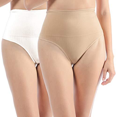 L&K-II Damen Nahtlos Mieder String Bauchweg VDU3601 Haut+Weiß Gr. S/M (Form Bauch)