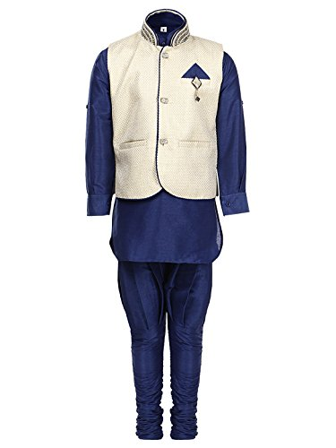 AJ DEZINES Boy's Cotton Kurta and Pyjama Set (637-BLUE-5, Blue, 5-6 Years)