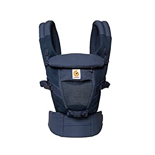 Ergobaby Baby Carrier for Newbown Adapt Cool Air Mesh Deep Blue, 3 Ergonomic Carry Positions Front and Back from Birth, Toddler Backpack Carrier