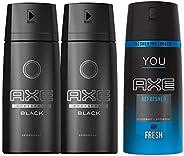 Axe Bodyspray for men Black McQueen, 150ml, 2 pieces + Axe You Refresh Bodyspray FREE