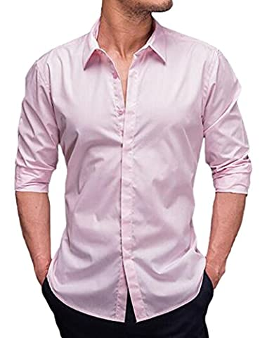 DD.UP Men's 100% Cotton Solid Color Business Casual Slim Fit Long Sleeved Shirt Dress Shirts