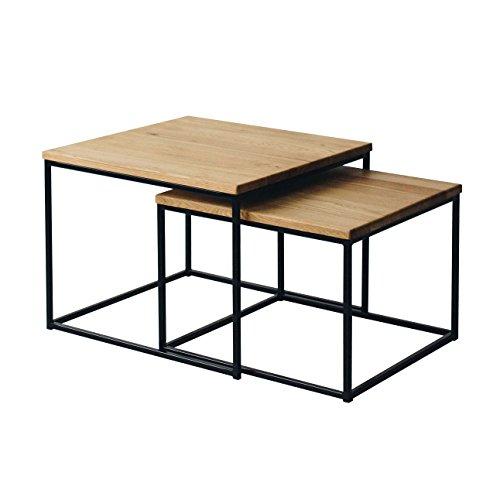 2er-Set Couchtisch (MSH) Eiche Metall Beistelltisch Industiedesign loft Vintage Sofatisch massiv Holz (Eiche Natur)