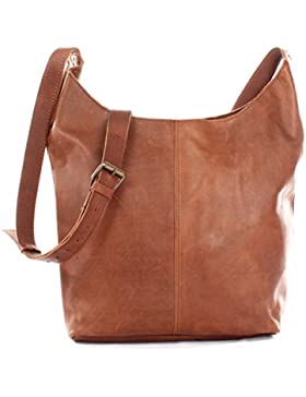 LECONI große Umhängetasche Damen Schultertasche praktische Ledertasche für Frauen Beuteltasche Vintage-Style Damentasche...