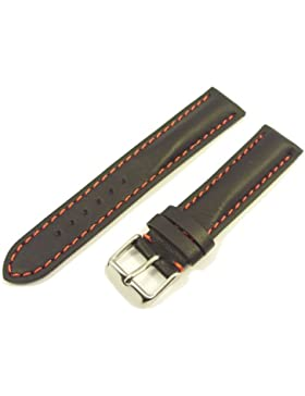 ZeitPunkt Kalbslederband mit roter Kontrastnaht schwarz 20 mm