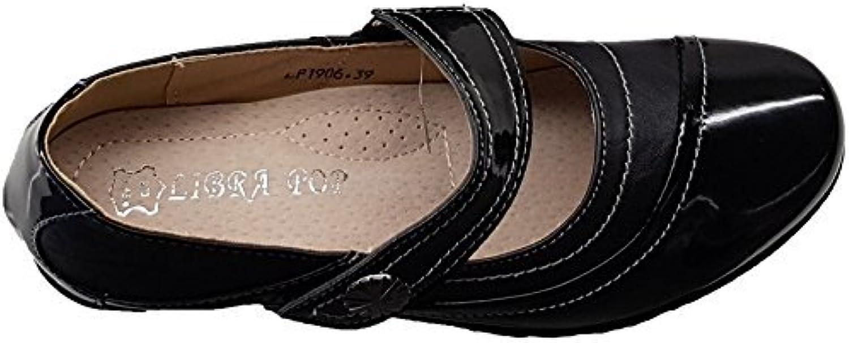 Sapphire Boutique by Sapphire Zafiro Boutique @ Mujer Cuña Baja Charol de Imitación Flor con hebillas Zapatos...