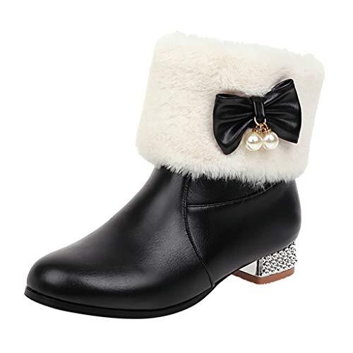 Oksea Damen Pelz Stiefel Warm Winter Schnee Stiefel Stiefeletten Schuhe Damen Gefüttert Wohnung Schnee Regen Stiefel Damenmode Bogen Perle Plus Samt Plus Baumwolle Lässig Einzelne -