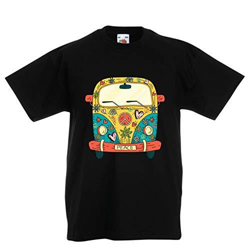 en/Mädchen T-Shirt 60er Jahre 70er Jahre Hippie-Van, Blumen, Liebe, Symbol für Friedensfreiheit (12-13 Years Schwarz Mehrfarben) ()