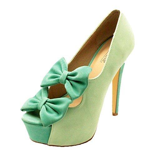 Mesdames suédine à double plate-forme de proue de la Haute Cour de chaussures à talons green