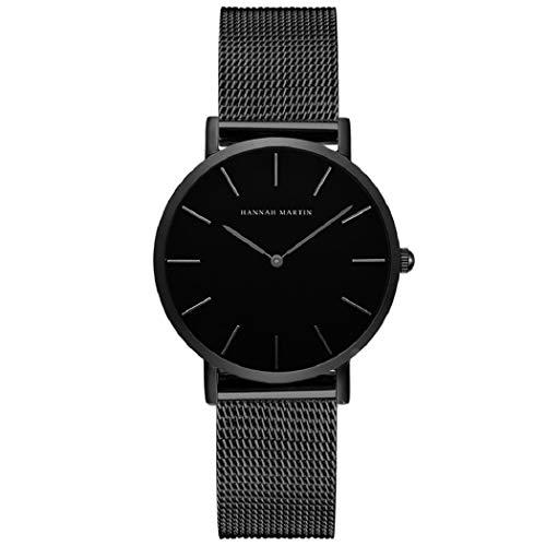 L'ananas-Montres, Femmes Acier Inoxydable Bracelet en Maille Quartz Ajustable B: et Montres Fashion Wristwatches (Z-Pur Noir)