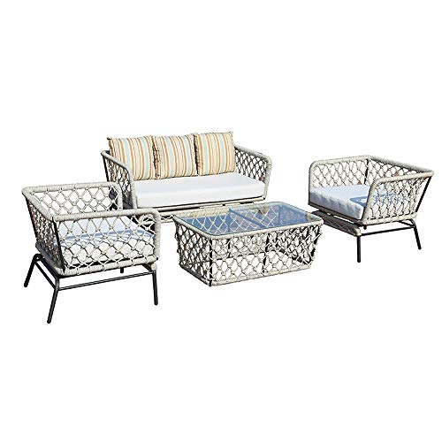VBARV Garden outdoor table and chair combination, outdoor living 4 tables and chairs terrace dining table rope sofa, PE rattan double sofa and single sofa with coffee table