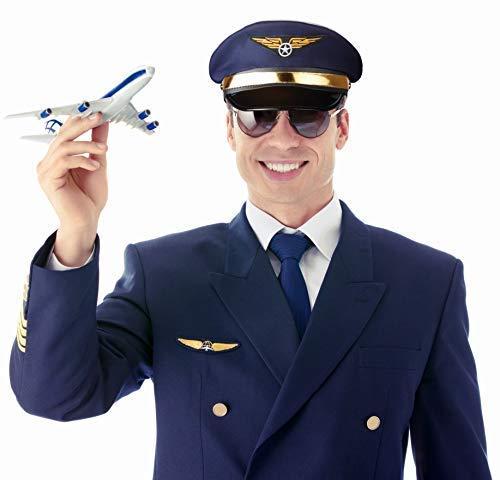 Balinco Pilotenmütze dunkelblau mit Goldener Leiste für Damen & Herren - Größe - Flug Anzug Kostüm Männer