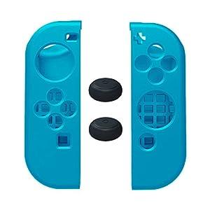 MaxKu Nintendo Switch Joy-Con Gamepad Gel-Protektoren und 2 Thumb-Stick-Kappen Silikon Hülle Case für Nintendo Switch Joy-Con Controller (Schwarz)