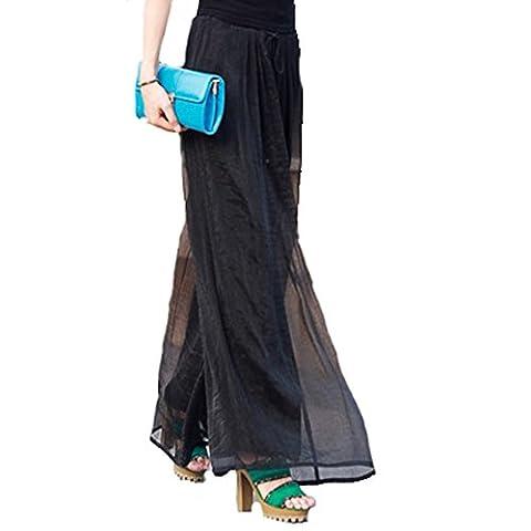YAELUCKY Women Elastic Waist Retro Vintage Dress Silk Chiffon Pants Long Maxi Skirt (black)