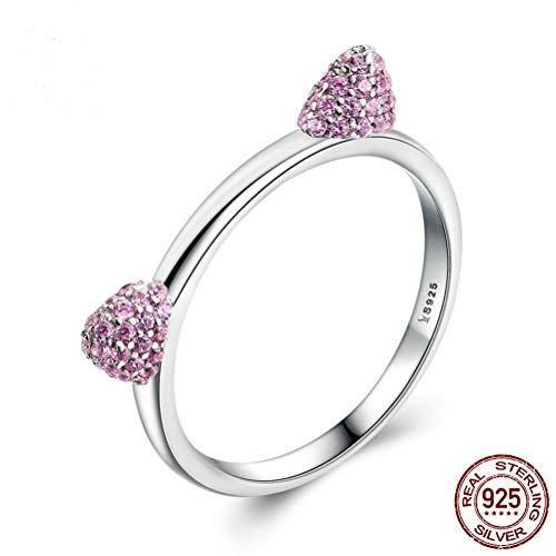 Damen 925 Sterling Silber Ring, Intarsien Pink Crystal Niedliche Tier Katze Ohr Stil Elegant Fingerring, Festival Geschenk Jahrestag Hochzeit Verlobung Versprechen Brautschmuck