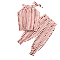 Baby Outfits, Tensay Toddler Kid Baby Girls Ruffled Striped Off Shoulder Tops Pants 2PC Outfits