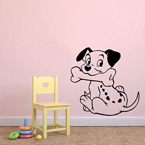 WWYJN Wall Decal Dog Animals Vinyl Removable Smiling Puppy Dog Wall Sticker Nursery Babys Room Decor Cartoon Style Wall Mural Gray 57x57cm - Pferd Anhänger-Überwachung