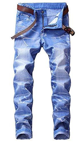 BOLAWOO Herren Bull Tuch Cowboy Farbe Ssig Modisch Baumwolle Rbt Gerade Schlank Mode Marken Hosen Jeans Nlichkeit Hle Original Klassisch Gezeitenmarke Jeans (Color : Blau, Size : 31)