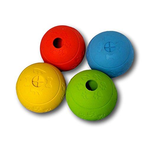 WEPO Hundespielzeug Set Robuster Labyrinth-Ball Naturkautschuk Intelligenzspielzeug Snack-Ball Hund 4er-Mix bunt -