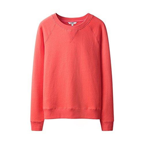 Signora Manica Lunga 100% Cotone Rotonda Giacca Manica Lunga-(Colori Assortiti) Rosso