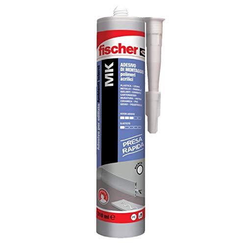Fischer mk, colla adesivo di montaggio a presa rapida, per battiscopa e listelli, canaline elettriche e luci led, fregi, piastrelle e pannelli isolanti interni, 310 ml, 545172
