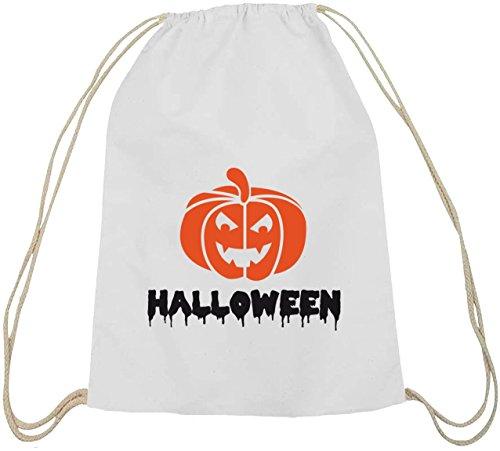 Halloween Grusel Kostüm natur Turnbeutel mit Halloween - Kürbis Motiv weiß natur