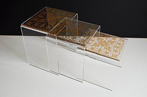 immi-living 3Plexiglas Nistkasten Ende Tisch Couchtisch Set Beistelltisch klar Acryl