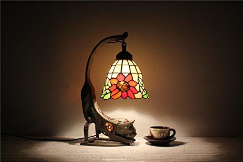 MEHE HOME-7-Zoll-europäischen Kreativ Tiffany Kunst Tiere Katze Bett Schreibtisch Kinderschreibtisch Lampe Sonnenblumen Tischlampe