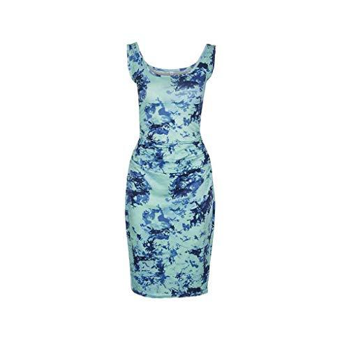 Ruiboury Frauen Plissee mit eckigem Ausschnitt ärmellosen Kleid festen Drucken Bodycon dünnes Kleid
