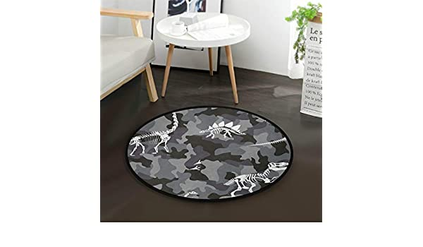 AMONKA Black And White Musical Note Kids Round Rug Baby Crawling Non-Slip Mats Child Activity Play Mat For Bedroom Playroom Home Decor Diameter 36.2