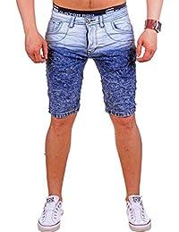Jeans Bermuda für den Sommer   Shorts mit Taschen und Destoyed Look   kurze  zweifarbige Stonewashed Hose für Herren   Freizeithose im… 30e65d9cf8