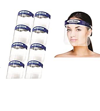 Kayra Decor Face Shield with Adjustable Elastic Strap Anti-Splash Protective Facial Transparent 175 Micron Cover Full Face Visor with Eye & Head Protection for Women and Men Pack of 8