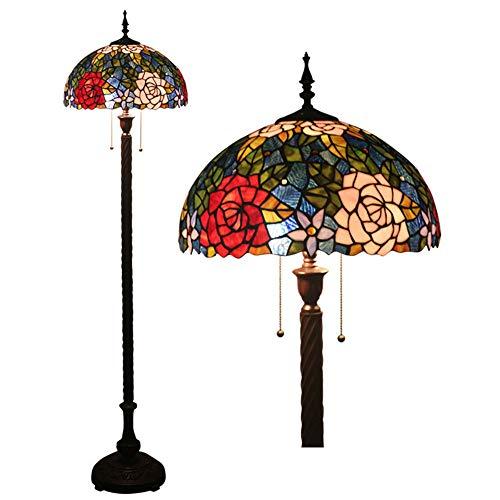 16 Zoll Tiffany Stil Floor Lampen gestfesselten Glasschmalkett Standing Lampe 2 Light Antique Base für Schlafzimmer-Liegeräder, E27