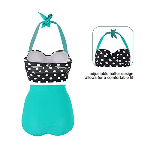 FeelinGirl 50er Damen Frauen Badeanzug Bademode Rockabilly Bikini Set-Hohe Taillen-Neckholder-bauchweg -