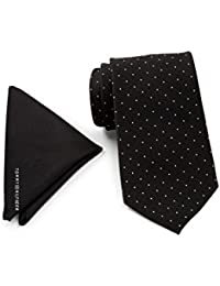 Tommy Hilfiger Men Pin Dot Silk Tie & Pocket Square Boxed Set, OS (Black)