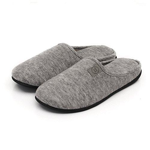 &zhou In primavera e in autunno, Pantofole, uomini, in cotone, morbido, comodo, spessa, antiscivolo gray