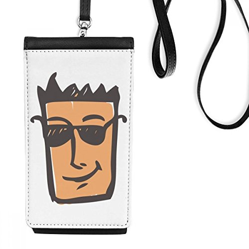 DIYthinker Sunglass Abstraktes Gesichts-Skizze Emoticons Online Chat-Leder-Smartphone Hanging Handtasche Schwarze Phone Wallet Geschenk