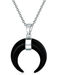 Bling Jewelry .925 Silver Black Onyx Crescent Moon Tribal Pendant Necklace