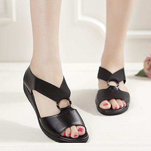 Estate moda donna sandali comodi tacchi alti,36 argento Black