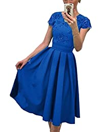 Bestfort Vintage Kleider Damen 50er Retro Mode Rundhals Rückenfrei  Cocktailkleider Knielang Abendkleid Kurze Ärmel Festliche Rockabilly c0f3b42786