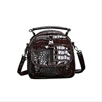QAZZ School Bag Mini Backpack Crocodile Pattern Vintage Women Backpacks Fashion School Bags for Teenage Girls Small Backpack Lady Shoulder Bags 20Cm 14Cm 20Cm Brown