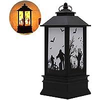 Amosfun Glitter Flameless Candle Lights Ghost Hand Pattern Vela Lámparas de Noche para Home Party Decoration Halloween Day Gift