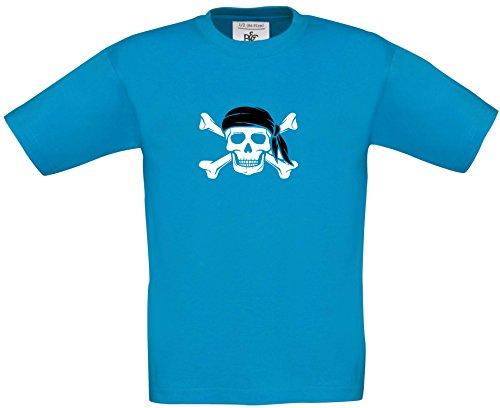 ids - Piratenshirt - Pirat mit Tuch farbig Jungen oder Mädchen T-Shirt Karneval Fasching Kostüm, Druck weiss, T-Shirt, Grösse 122/128, blau (Blaue Piraten Mädchen Kostüme)