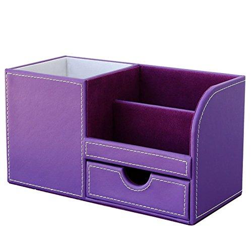 Office Lila-organizer (KINGFOM™ 4 Speicherabteil PU Leder Multifunktionale Organizer Schreibtisch (Lila))