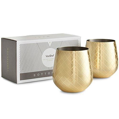 Vasos de vino de acero inoxidable bañado en oro grabado VonShef – Conjunto de 2