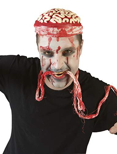 Halloweenia - Kostüm Accessoires Zubehör Schaum Kopfbedeckung Hut mit Offenem Gehirn, Hat with Brains Foam, perfekt für Halloween Karneval und Fasching, Weiß -