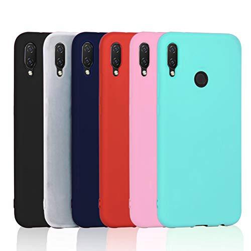 6X Huawei P Smart Plus Hülle, Huawei P Smart+ Hülle, XiaoXiMi Ultra Thin TPU Case Stoßfest Anti-Scratch Hülle (6 Farben) - [Schwarz + Dunkelblau + Rot + Rosa + Grün + Transluzent]